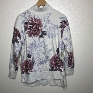 Free People High Neck Floral Sweater